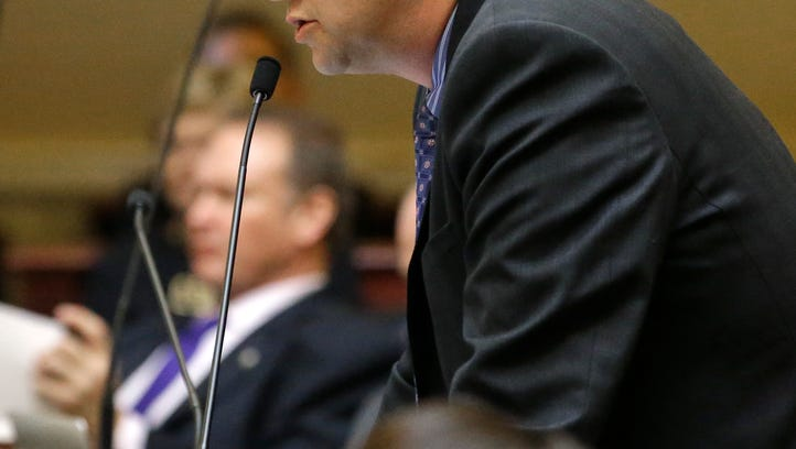 In this March 2, 2015 file photo, Republican Sen. Todd Weiler speaks on the senate floor at the Utah state Capitol in Salt Lake City. Weiler, wants to declare pornography a public health crisis, echoing an argument being made around the U.S. by conservative religious groups as porn becomes more accessible on smartphones and tablets. Utah lawmakers were scheduled to discuss the resolution Friday, Feb. 5, 2016 in a legislative hearing.