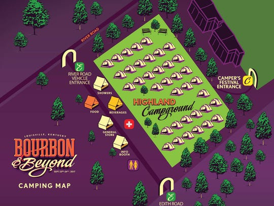 Campground map for the 2017 Bourbon & Beyond festival.