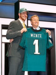 Carson Wentz (North Dakota State) poses with NFL commissioner