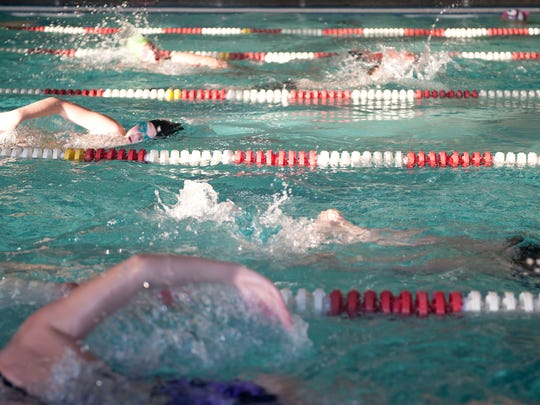 The Bucyrus White Sharks swim team competes in the second annual White Shark 100x100 Swim Challenge on Wednesday at the Bucyrus YMCA. The challenge is for swimmers to continuously swim until they have completed 100 100-yard laps, which is 5.68 miles.