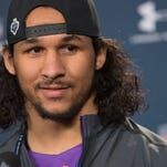 Feb 21, 2015; Indianapolis, IN, USA;  Mississippi defensive back Cody Prewitt speaks to the media at the 2015 NFL Combine at Lucas Oil Stadium. Mandatory Credit: Trevor Ruszkowski-USA TODAY Sports