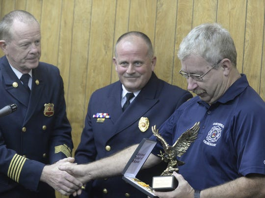 Chief Dennis Spears of Centerville Fire/Rescue receives