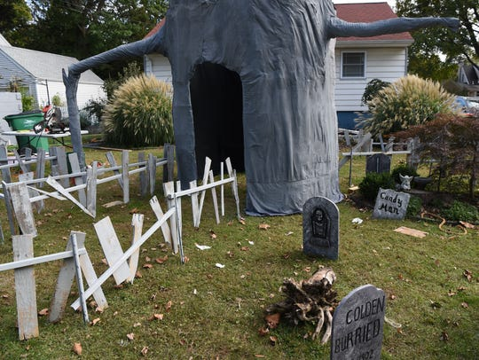 A view of the Mahlmeisters's Halloween display at their