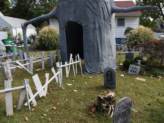 A view of the Mahlmeisters's Halloween display at their home in Fishkill.