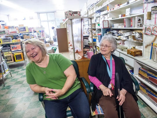 Karen Brooks, left and Marlene Strickler laugh while