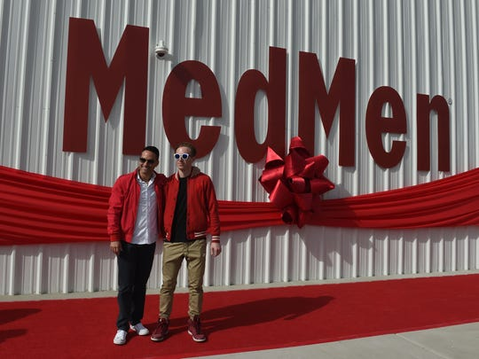 MedMen co-founders Adam Bierman, left, and Andrew Modlin pose for a photo at the new MedMen cannabis facility on April 11, 2018 east of Reno-Sparks.