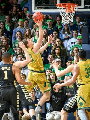 Notre Dame Fighting Irish guard Steve Vasturia (32) shoots in the first half against the Wake Forest Demon Deacons at the Purcell Pavilion.