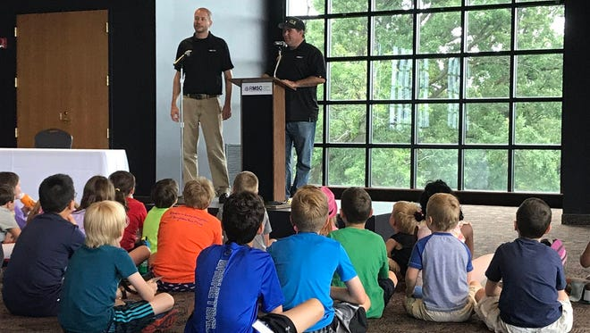 NASCAR XFINITY Series driver Brendan Gaughan and Richard Childress Racing engineer Ryan Isabell share what puts the speed in stock race cars with day campers at Rochester Museum & Science Center.