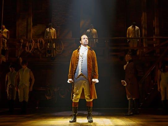 Lin-Manuel Miranda as Alexander Hamilton in a scene