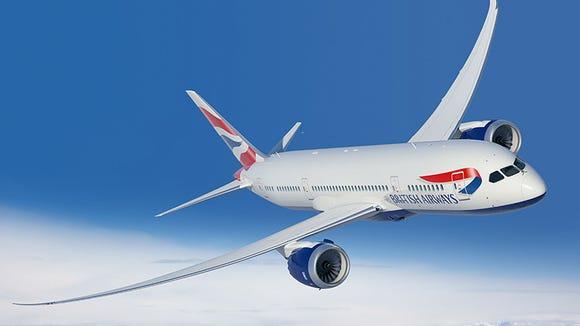 An undated image of a British Airways Boeing 787-8
