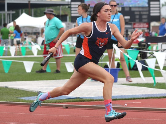 Galion's Jalyn Oswald leads off the 400 meter relay during the Division II state finals on Saturday at Jesse Owens Memorial Stadium in Columbus.