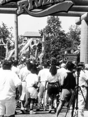 1991: Crowds line up for the opening of Adventure Rivers at Great Adventure.