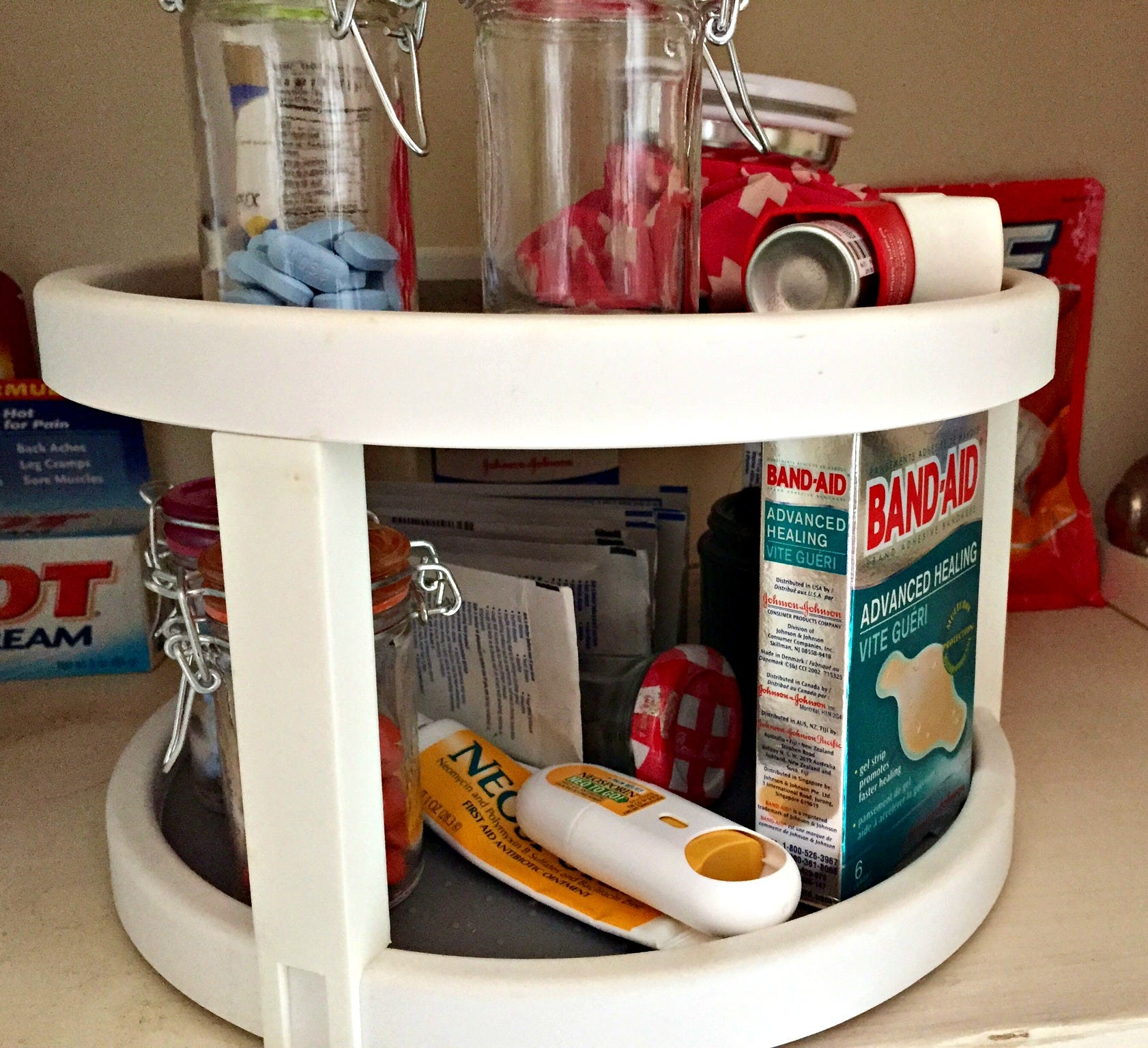 A Double Decker Lazy Susan Keeps Medicines Orderly