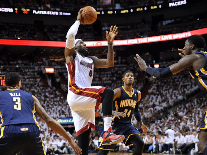 LeBron James, Ray Allen lift Heat past Pacers in Game 3