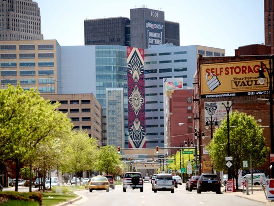 This is a veiw of the new Shepard Fairey mural on the