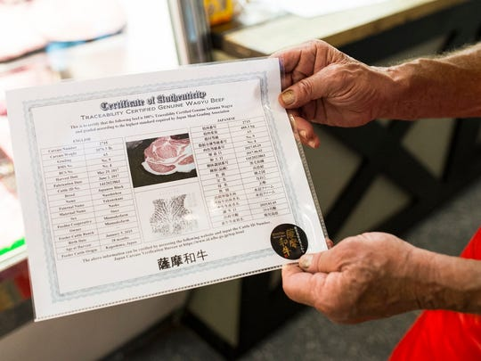 A certificate of authenticity for a piece of wagyu beef is pictured at Jimmy P's Butcher Shop and Deli in Bonita Springs on Tuesday, July 12.