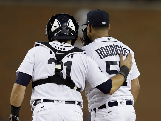 Tigers catcher Alex Avila talks to relief pitcher Francisco Rodriguez after he gave up a solo home run to the Rays' Steven Souza Jr. during the eighth inning Thursday, June 15, 2017 in Detroit.