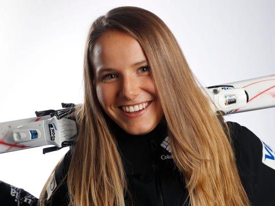 Sep 27, 2017; Park City, UT, USA; Team USA freestyle skiing moguls hopeful Morgan Schild during the 2018 U.S. Olympic Summit at Grand Summit Hotel. Mandatory Credit: Jeff Swinger-USA TODAY Sports