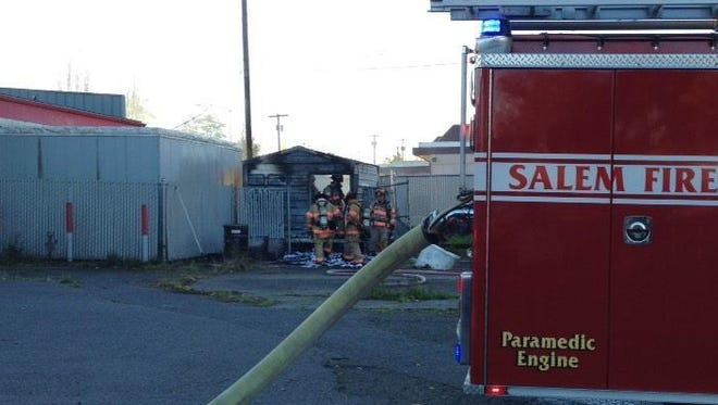 A small shed caught fire near Commercial and Pine this morning.