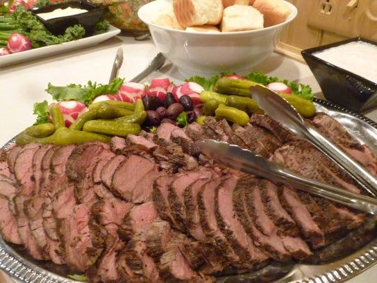 Beef tenderloin tips served on crostini.