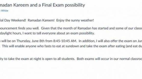 bryan white ramadan exam email
