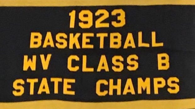 The 1923 state championship banner that hangs on the wall at Keyser High School.