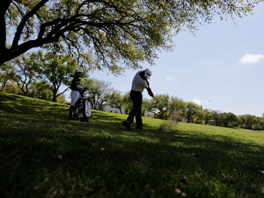 Hideki Matsuyama, of Japan, hits from the rough on the eighth hole as he practices for the Dell Technologies Match Play Championship golf tournament at Austin County Club, Tuesday, March 21, 2017, in Austin, Texas. (AP Photo/Eric Gay)