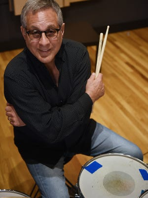 Max Weinberg, drummer for Bruce Springsteen's E Street Band, sits at a drum kit at the Lake House recording studio in Asbury Park on Saturday July 15, 2017. The musician will bring Max Weinberg's Jukebox to the Landis Theatre in Vineland on Saturday.