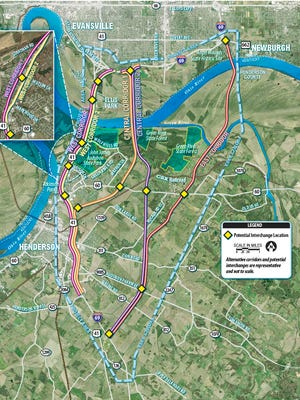 Map of various alternatives for the proposed I-69 Ohio River crossing.