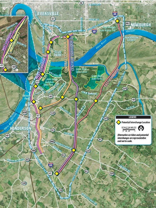 I69 Indiana Map.Evansville Gets A Look At 5 I 69 Ohio River Bridge Possibilities