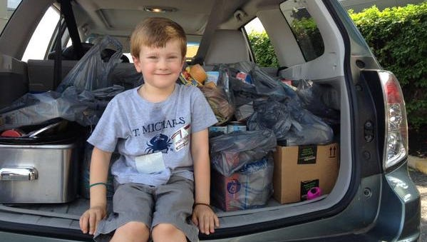 Finley Kerth dropped off several bags of food for the food drive.