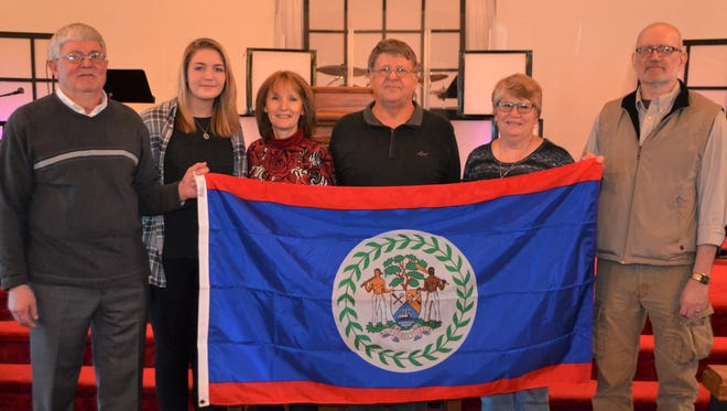 The Shelby First Church of God mission team that will spend nine days in Belize includes, from left, Michael Graham, Lydia Laug, Gwen Robertson, Larry Cramer, Sally Bevier, Mike Skidmoreand James DuBois (not pictured).