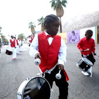 Robinson Park Community Park Drill Team performs at the Black History Parade in Palm Springs on February 28, 2015.