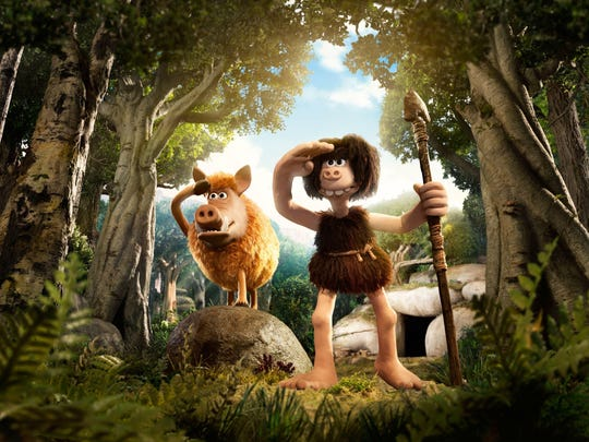 "Hognob, left, and Dug appear in a scene from ""Early Man."""