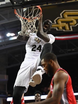 UCF center Tacko Fall will be one of is up for the Kareem Abdul-Jabbar Center of the Year Award.
