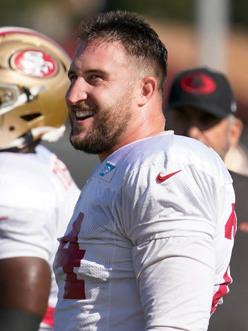 San Francisco 49ers offensive tackle Joe Staley smiles during practice at the team's NFL football training facility in Santa Clara, Calif., Friday, Jan. 24, 2020. The 49ers will face the Kansas City Chiefs in Super Bowl 54. (AP Photo/Tony Avelar)