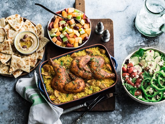 Moroccan citrus roasted chicken family meal with Greek