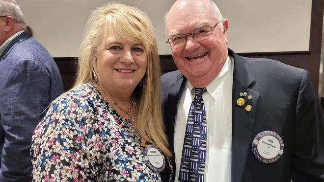 Hillsdale Rotary Club members Constance Sexton and Phil Hoffman at Wednesday's anniversary celebration.