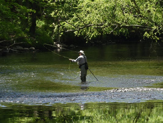Jay French of Mahwah tries fly fishing in the Ramapo River.