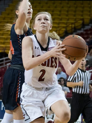 Brooke Salas (2) and the New Mexico State Aggies finish the regular season Saturday against Texas-Rio Grande Valley at the Pan American Center.