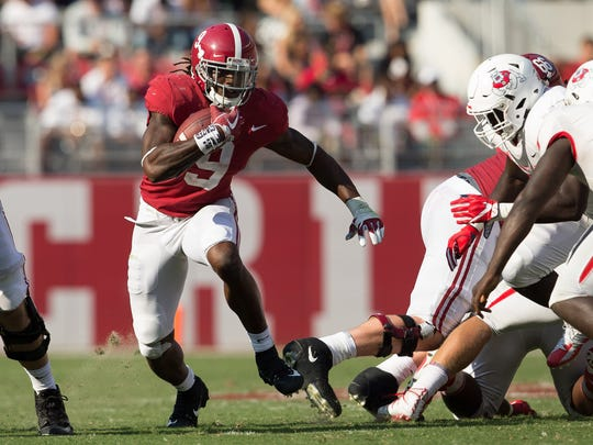 Running back Bo Scarbrough averaged 121 yards and scored six touchdowns for Alabama last season in three postseason games -- the SEC championship, College Football Playoff semifinals and national championship game.