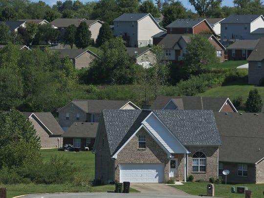 Homes near the 265 in Clark County, Indiana. Home sales and building have been on the upswing since the Lewis and Clark Bridge opened in 2016.