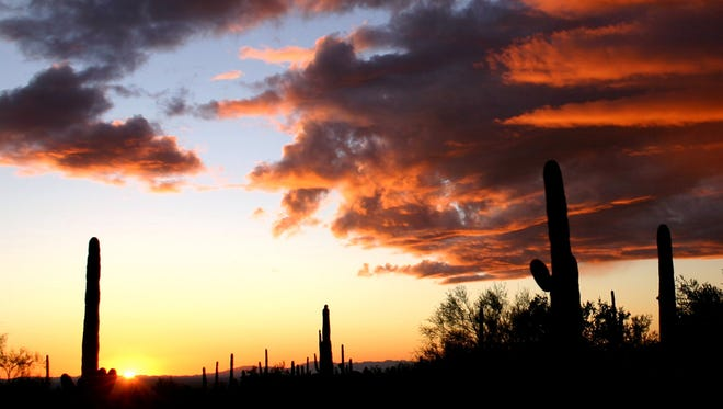 The photo was taken in the Superstition Mountains while hiking the Hieroglyphic Trail - at Sunset.