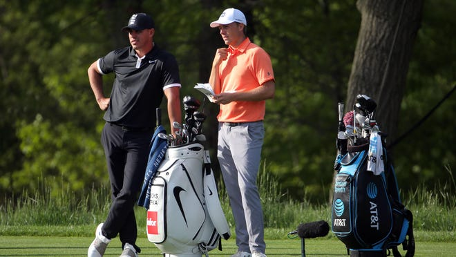 In this 2019 photo, Brooks Koepka, left, and Jordan Spieth stand on the 14th tee during the third round of the PGA Championship at Bethpage State Park - Black Course. With Spieth struggling, he should turn to Koepka for advice.