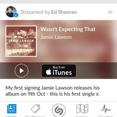 A screen shot of the Shazam music app showing a song