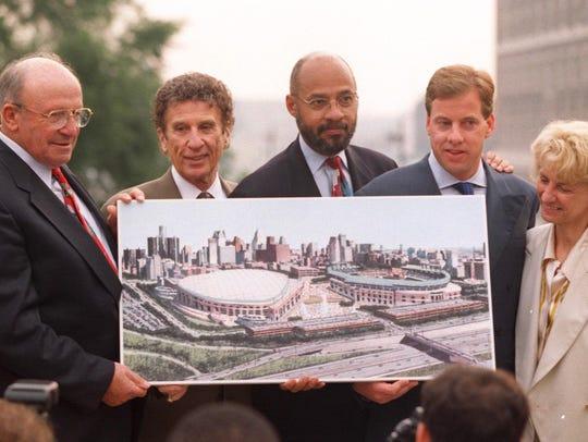 From left, Ed McNamara, Mike Ilitch, Dennis Archer,