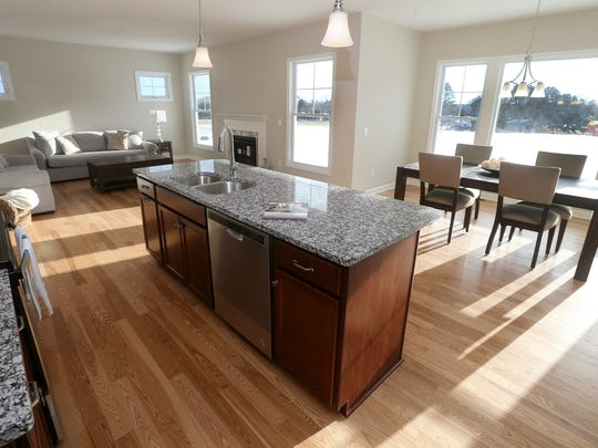 An open concept on the  first floor of a home in the