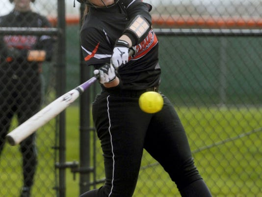 Central York's Haley Klunk hits an inside-the-park home run during the first inning of Wednesday's game against West York. That was Central's lone run of the game until a five-run sixth inning, which propelled the Panthers to a 6-3 victory.