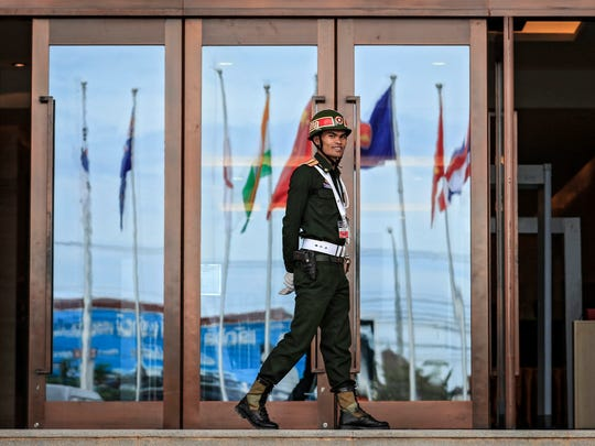 A sentry walks in front of the National Convention Center, in Vientiane, Laos, on Sept. 4, 2016. The Association of Southeast Asian Nations (ASEAN) summit takes place there this week.