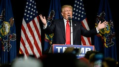 Republican presidential candidate Donald Trump speaks